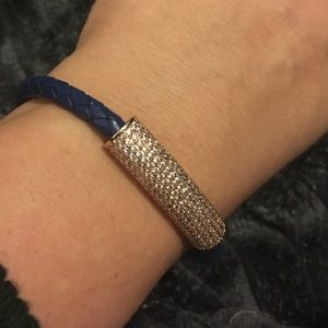 Blue breaded leather bracelet with crystals /gold